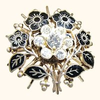 1930s Champleve Enamel Second Year Mourning Brooch or Pin