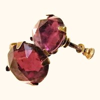 Victorian Gold Vermeil and Deep Amethyst Colored Glass Earrings