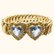 Expandable Carmen Sweetheart Bracelet by D. F. Briggs Co. / Double Sky Blue Hearts