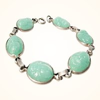 1920s Sterling and Green Glass Scarab Bracelet