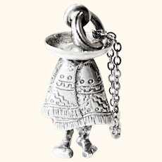 Vintage Sterling Silver Mexican Man In Sombrero And Serape Pendant