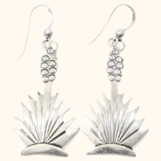 Signed Native American Sterling Silver Yucca Dangle Earrings