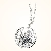 Vintage Sterling Silver St. Christopher Pendant or Charm