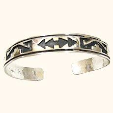 Signed Native American Navajo Sterling Silver Cuff Bracelet