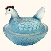Vintage Light Blue Hen On A Nest Salt Cellar or Trinket Dish