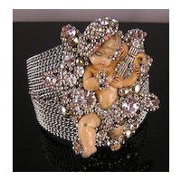 Lavishly Adorned Angel with a Lyre, Rhinestones & Beads Cuff Bracelet