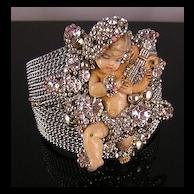 Lavishly Adorned Angel with a Lyre, Rhinestones & Beads Cuff Bracelet