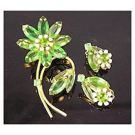 Translucent Apple Green Open-Backed Rhinestone Flower Brooch & Earrings