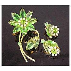 Translucent Apple Green Open-Backed Rhinestone Flower Brooch & Earrings