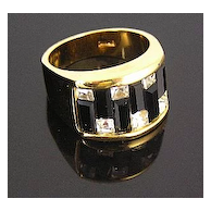 Dramatic 18K Gold Fill Black Baguette and Clear Rhinestone Ring