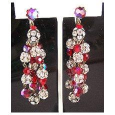 """Glorious Red & Rhinestone 3"""" 5-Strand Dangle Earrings"""