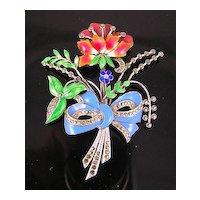 Sterling Silver Enamel & Marcasite Flower Bouquet Brooch