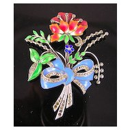 Sterling Silver Enamel & Marcasite Flower Bouquet Brooch