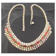 Red & Aurora Borealis Rhinestone Necklace