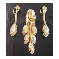 "Kramer Circa 1950's ""Golden Look"" Rhinestone Mesh Dangle Brooch & Earrings"