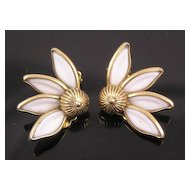 Crown Trifari Molded Glass Daisy Earrings