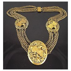 Circa 1930's Victorian Revival Brass Locket with Filigree and Vine Design Swag Necklace