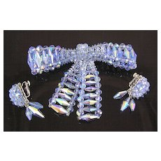 Vendome Aurora Borealis Bow Brooch & Dangle Earrings