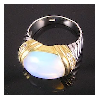 Sterling Silver Faux Moonstone, Rhinestones, Enamel, with Gold-Plated Accents Ring