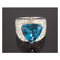 Sterling Silver Blue Triangle & Pave Clear Rhinestone Ring