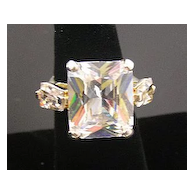 Giant Faceted Glass and Kite-Shaped Baguettes Ring