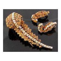 Hollycraft Amber & AB Rhinestone Feather Fur Clip & Earrings