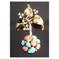 Trifari Pastel Fruit Salad Dangle 1940's Brooch