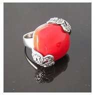 Sterling Silver, Marcasites and Large Red Thermoset Square Ring