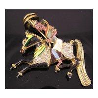 Coro Craft Persian Man on Horseback Sterling Brooch