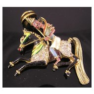 Coro Craft Persian Man on Horseback Sterling Brooch