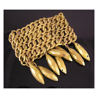 French Circa 1980's Wide Brass Chain and Dangle Bracelet