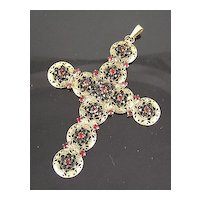 Hobe' Large  Circa 1960's-1970's Red Rhinestone Filigree Cross Pendant