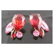 Beau Jewels Red & Pink Rhinestone Earrings