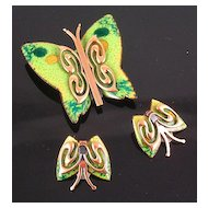 Matisse 1950's Green Enameled Copper Butterfly Brooch & Earrings