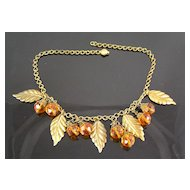 Brass Leaves and Faceted Amber Colored Glass Crystal Dangles Circa 1930's Necklace