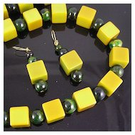 Bakelite Marbled Green Spheres & Apple Green Cubes Necklace & Earrings
