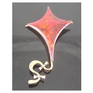 Matisse Renoir Copper Red Enameled Kite Figural Brooch