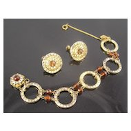 Miriam Haskell Channel Set RS Bracelet & Earrings