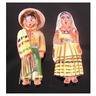 Rare Signed Coro Mexican Couple Enameled 1940's Fur Clips
