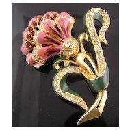 Coro Enamel & Rhinestone Lavender Flower Brooch