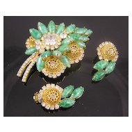Juliana D&E Faux Jade & Filigree Brooch & Earrings - Book Pieces