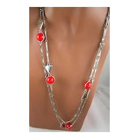 Mod Geometric Red Ball & Triangle Necklace