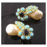 Faux Turquoise & Faux Baroque Pearl RS Earrings