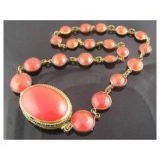 Rich Red Circa 1930's Filigree Clasp Necklace