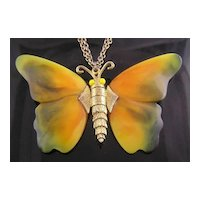 Circa 1960's Beautiful Butterfly Articulated Wings Necklace Book Piece