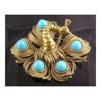Stunning Faux Turquoise Peacock Brooch Pendant