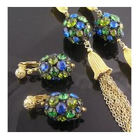 Elegant Blue Green Rhinestone Dangle Earrings & Necklace