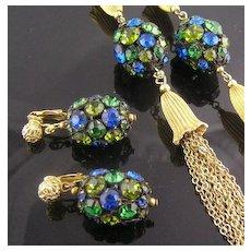 Elegant Blue Green Rhinestone Dangle Earrings & Necklace