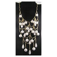 Dramatic Circa 1970's Milk Drop Bib Necklace