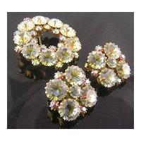 Lovely Swarovski Crystal Fuchsia Aurora Borealis Brooch & Clip Earrings
